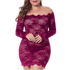 Plus Size Lace Fitted Babydoll Lingerie with Panty